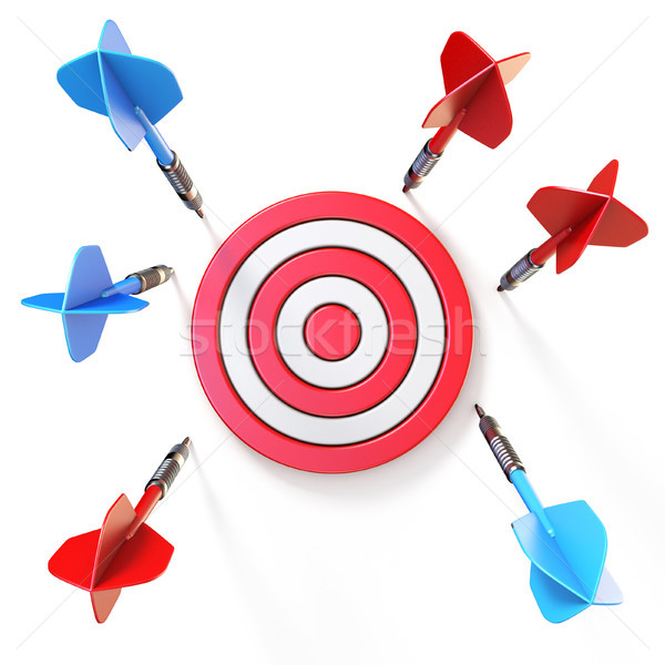 Blue and red dart miss target front view 3D Stock photo © djmilic