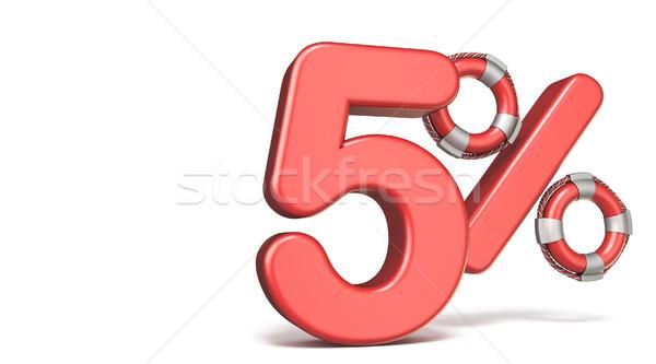 Life buoy 5 percent sign 3D render illustration Stock photo © djmilic