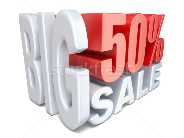 White red big sale sign PERCENT 50 3D Stock photo © djmilic