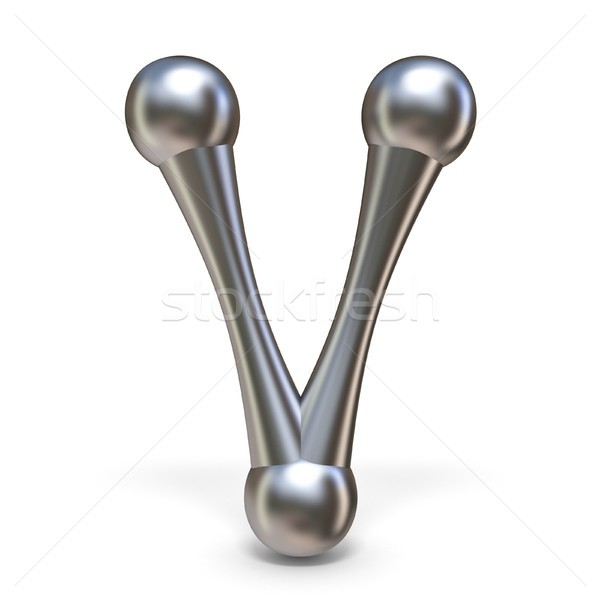 Steel molecular font Letter V 3D Stock photo © djmilic