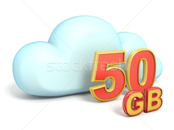 облако значок 50 хранения мощность 3D Сток-фото © djmilic