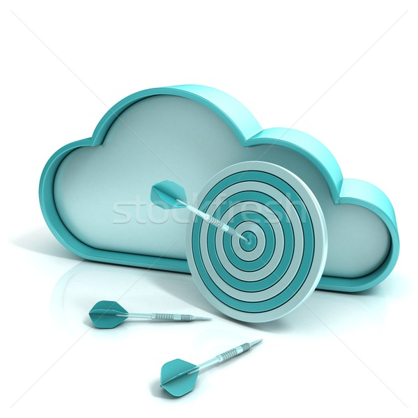 Cloud target and darts 3D computer icon Stock photo © djmilic