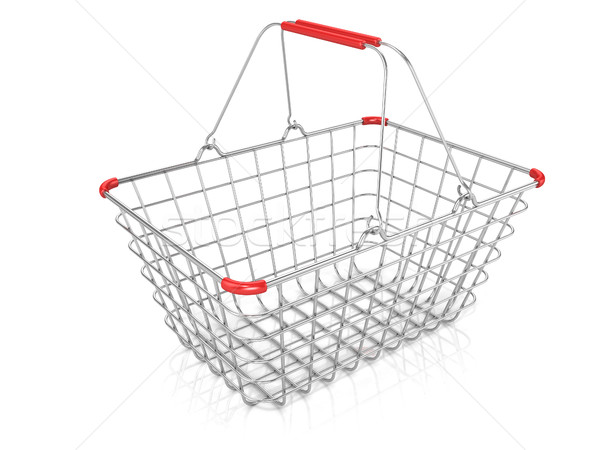 Stock photo: Steel wire shopping basket