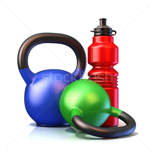 Red plastic sport bottles and kettle bells weight Stock photo © djmilic