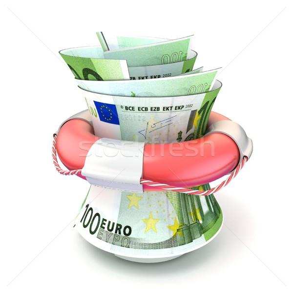 Red lifebuoy saving money, roll euro. 3D Stock photo © djmilic