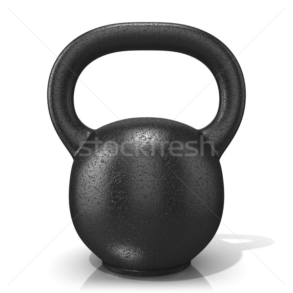 Rough cast iron kettle bell weight, isolated on a white backgrou Stock photo © djmilic