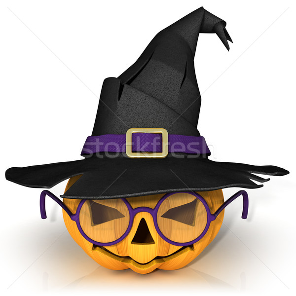 Funny Jack O Lantern. Halloween pumpkin with purple glasses, wea Stock photo © djmilic