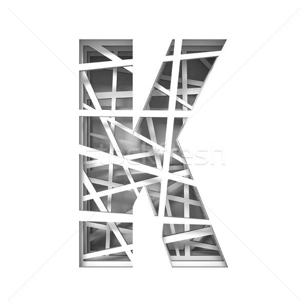 Paper cut out font letter K 3D Stock photo © djmilic