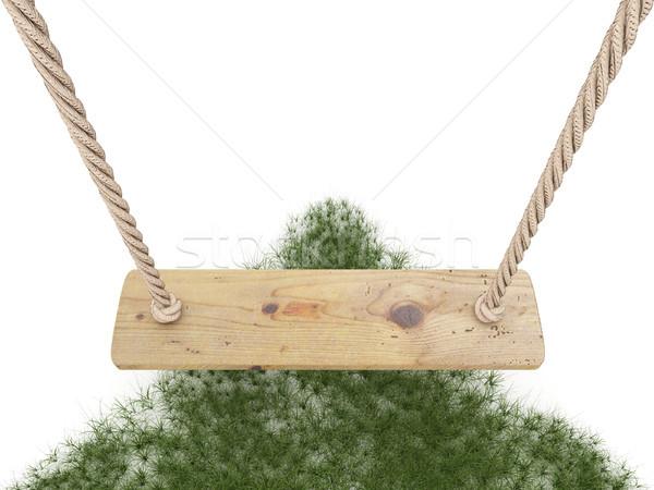 Huśtawka liny deska trawy 3D Zdjęcia stock © djmilic