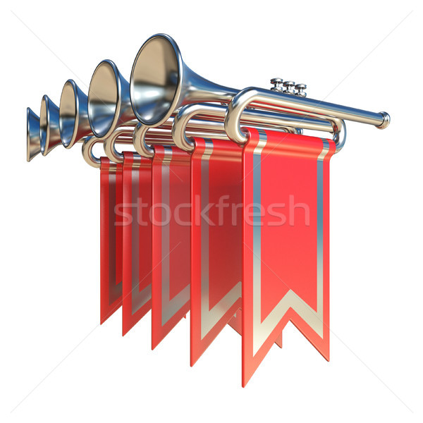 Fanfare five silver trumpets and red flags 3D Stock photo © djmilic