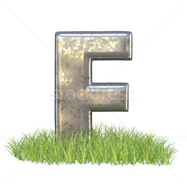 Stock photo: Galvanized metal font Letter F in grass 3D
