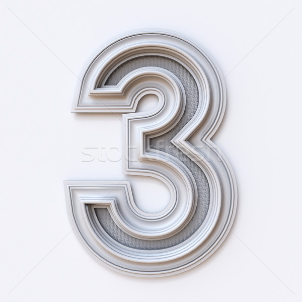 White picture frame font Number 3 THREE 3D Stock photo © djmilic