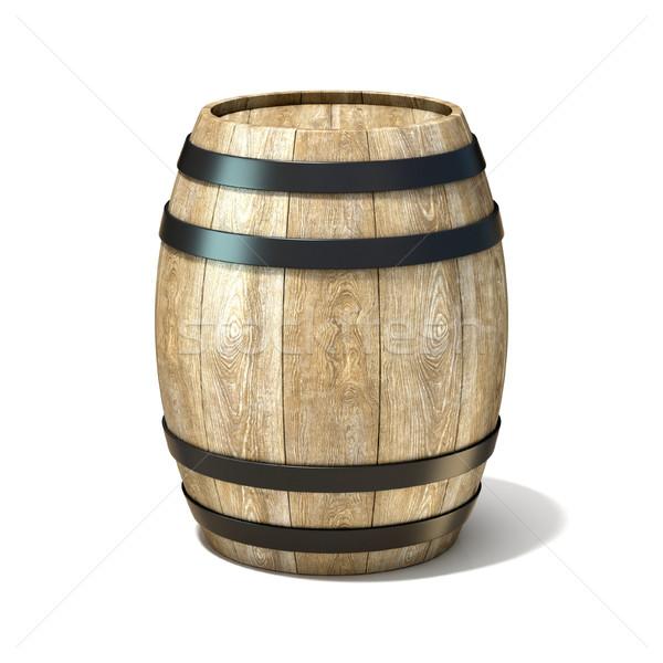 Holz Wein Barrel 3D 3d render Illustration Stock foto © djmilic