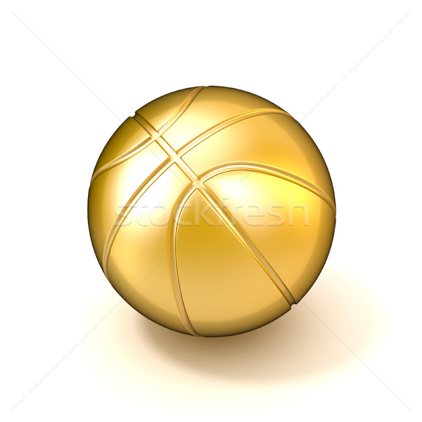 Golden basketball ball isolated on white background. 3D Stock photo © djmilic