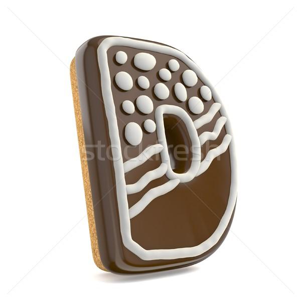 D betű csokoládé karácsony mézeskalács betűtípus díszített Stock fotó © djmilic