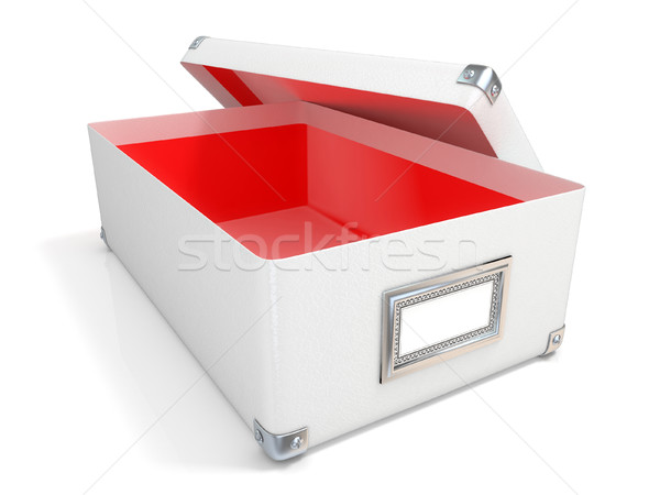 White leather opened box, with chrome corners, red interior and  Stock photo © djmilic