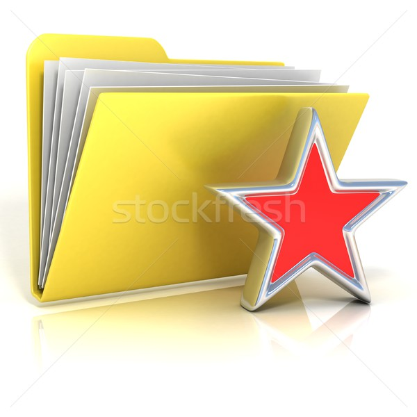Favorites, star folder icon, 3D Stock photo © djmilic