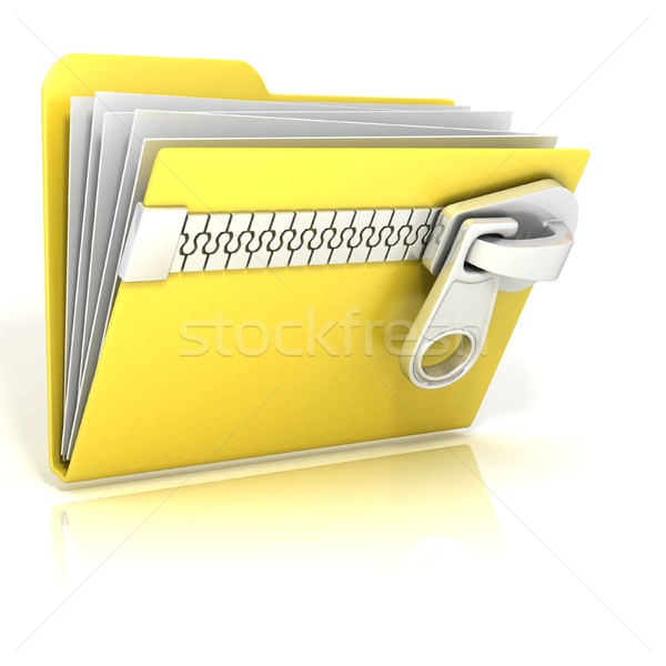 Zip, archive, compressed folder icon. 3D Stock photo © djmilic