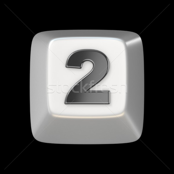 Computer keyboard key number TWO 2 3D Stock photo © djmilic