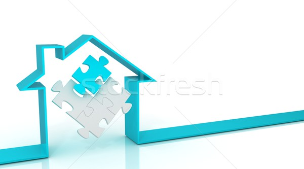 Ribbon house 3D, with puzzle inside, Cyan Stock photo © djmilic