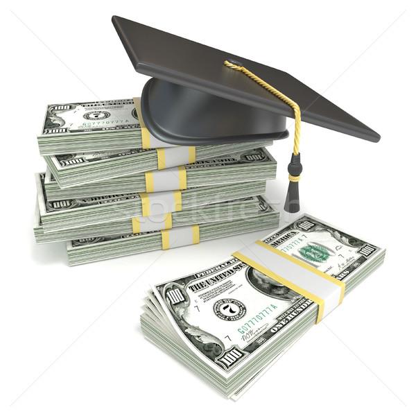 Oktatás érettségi sapka boglya dollár bankjegyek 3D Stock fotó © djmilic