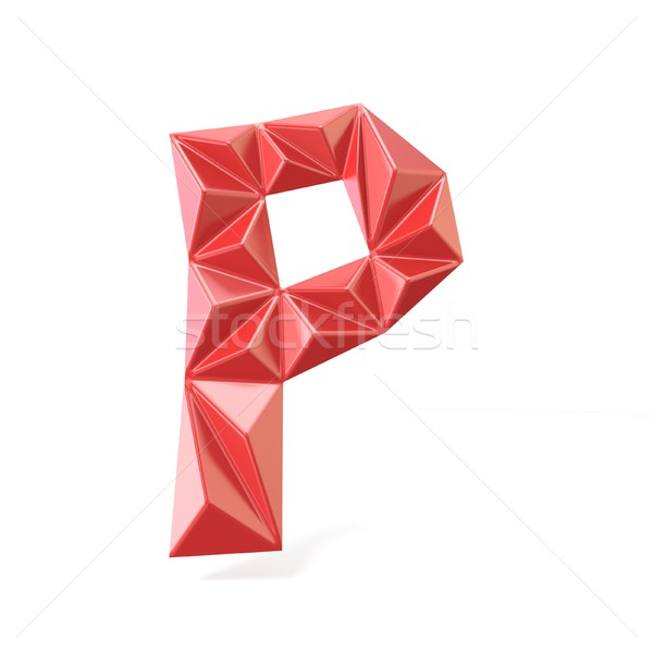 Red modern triangular font letter P. 3D Stock photo © djmilic
