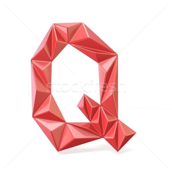 Red modern triangular font letter Q. 3D Stock photo © djmilic