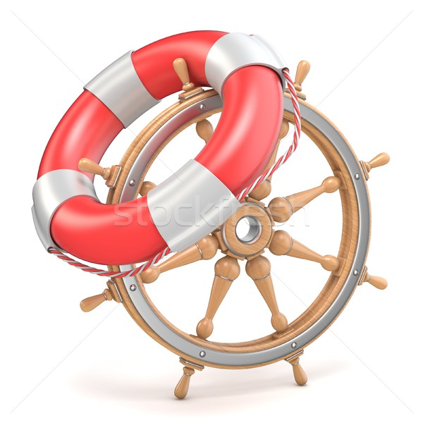 Wooden ship wheel and life buoy 3D Stock photo © djmilic