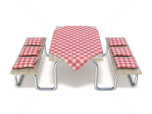 Rouge table couvrir oreillers 3D Photo stock © djmilic