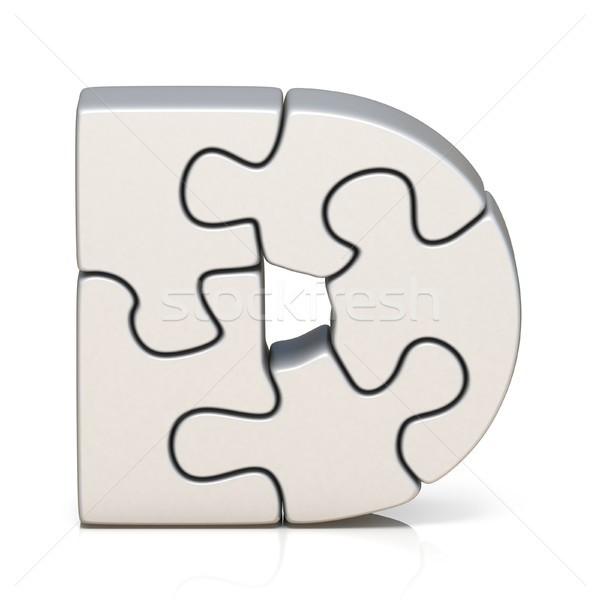 Fehér puzzle fűrész d betű 3D 3d render Stock fotó © djmilic