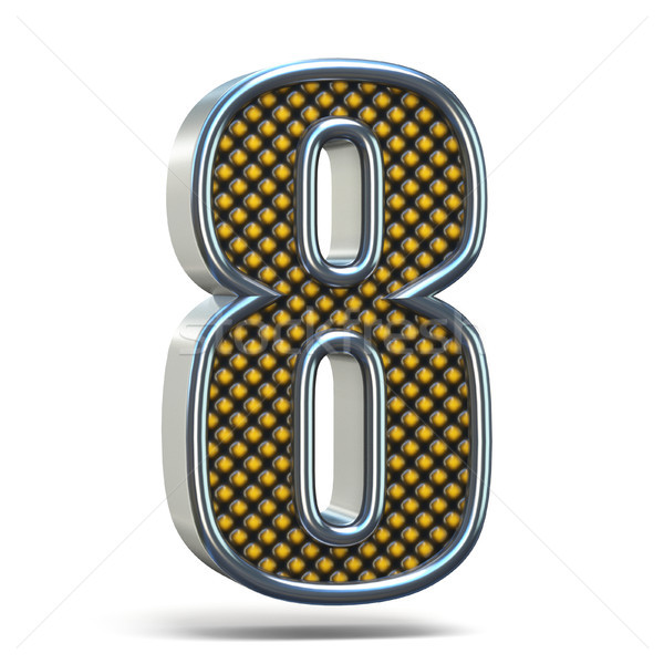 Chrome metal orange dotted font Number EIGHT 8 3D Stock photo © djmilic