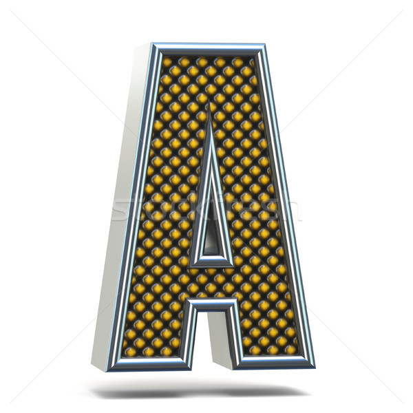 Chrome metal orange dotted font Letter A 3D Stock photo © djmilic