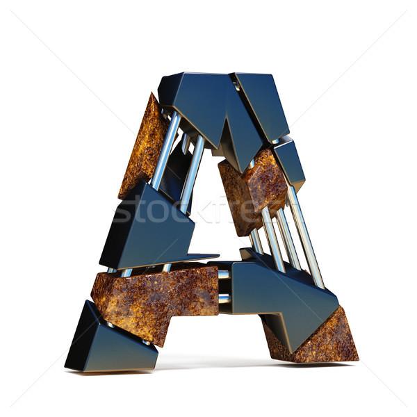 Black brown fracture font LETTER A 3D Stock photo © djmilic