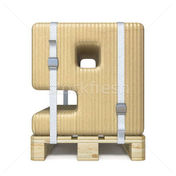 Cardboard box font Number 9 NINE on wooden pallet 3D Stock photo © djmilic