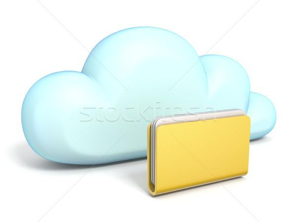 Chmura icon zamknięte folderze 3D odizolowany Zdjęcia stock © djmilic