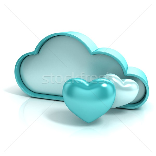 Cloud with hearts. Favorite storage 3D computer icon Stock photo © djmilic