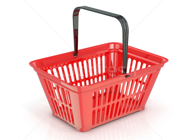 Red shopping basket, side view. 3D Stock photo © djmilic