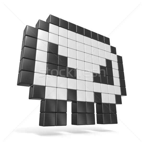 Pixeles koponya ikon oldalnézet 3D 3d render Stock fotó © djmilic
