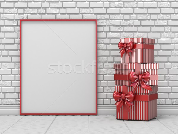 Mock up blank picture frame, Christmas decoration and striped gi Stock photo © djmilic