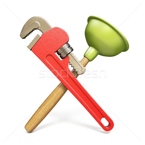 Pipe wrenche and plunger 3D Stock photo © djmilic