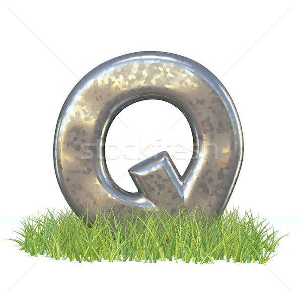 гальванизированный металл шрифт буква q трава 3D Сток-фото © djmilic
