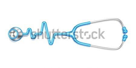 青 聴診器 心電図 行 心電図 ストックフォト © djmilic