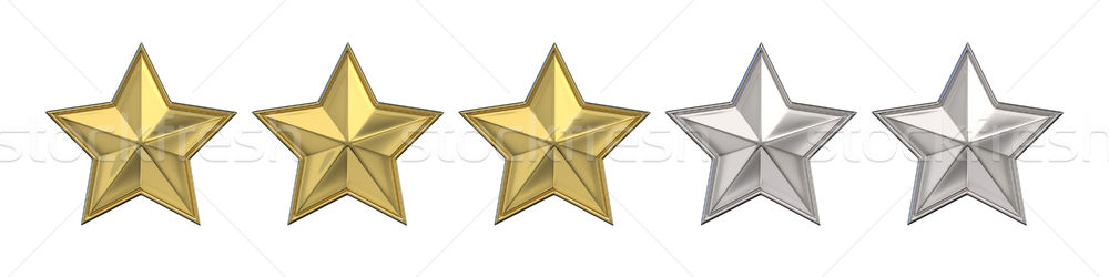 Stock photo: Voting concept. Rating three golden stars. 3D