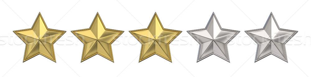 Trois or étoiles 3D rendu 3d Photo stock © djmilic
