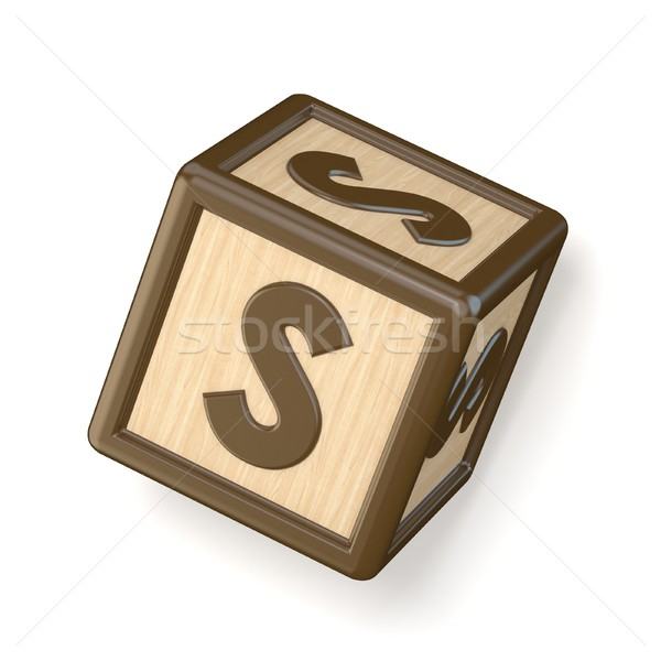 Letter S wooden alphabet blocks font rotated. 3D Stock photo © djmilic