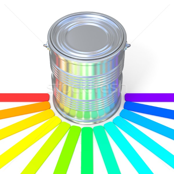 Colors guide reflection on a tin. 3D Stock photo © djmilic