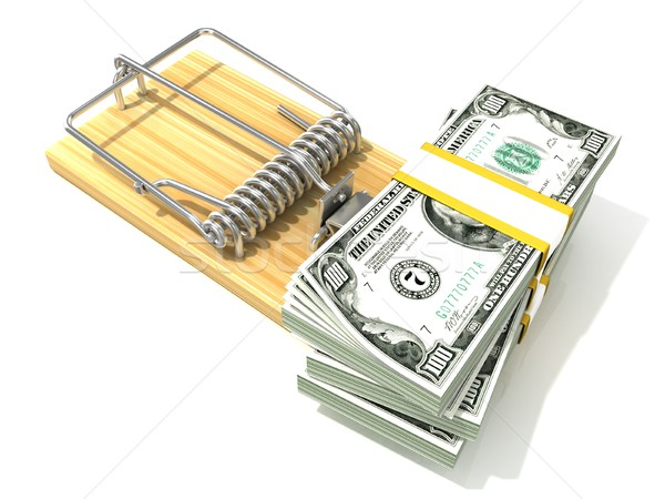 Stack of hundreds dollars, like bait, in wooden mousetrap. 3D Stock photo © djmilic
