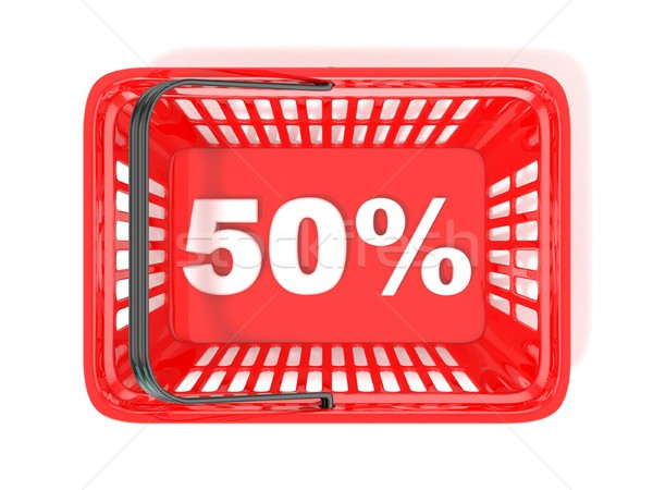50 percent discount tag in red shopping basket. 3D Stock photo © djmilic