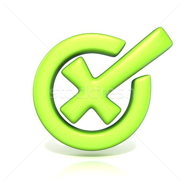 Green incorrect check mark in circle. 3D Stock photo © djmilic