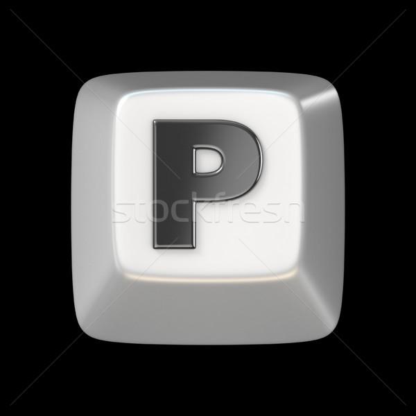 Számítógép billentyűzet kulcs betűtípus p betű 3D 3d render Stock fotó © djmilic
